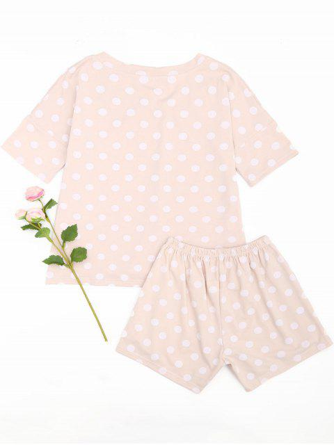 best Polka Dot Loungewear T-shirt and Shorts - PINK L Mobile