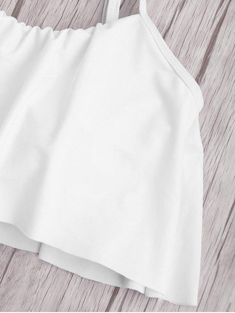 Ensemble de bikini à taille haute à rayures supérieures - Blanc 4XL Mobile