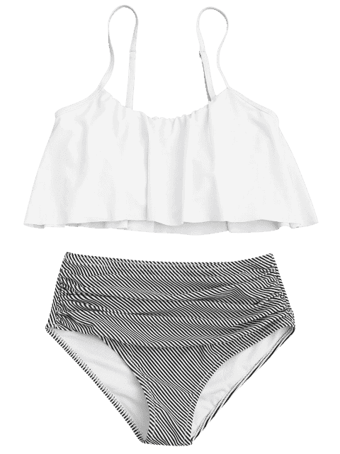 outfits Plus Size Striped High Waisted Bikini Set - WHITE 3XL Mobile