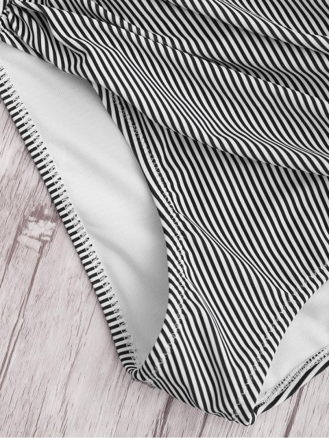 shop Plus Size Striped High Waisted Bikini Set - WHITE 2XL Mobile