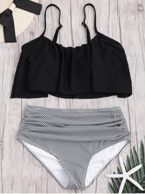 chic Plus Size Striped High Waisted Bikini Set - BLACK XL Mobile