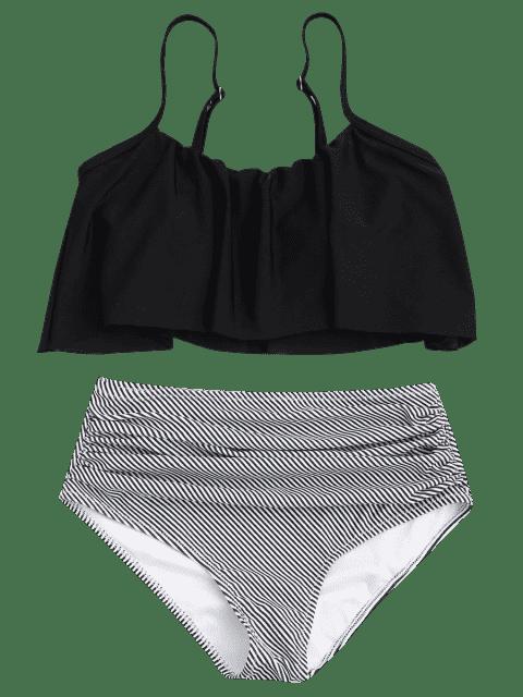 Ensemble de bikini à taille haute à rayures supérieures - Noir XL Mobile