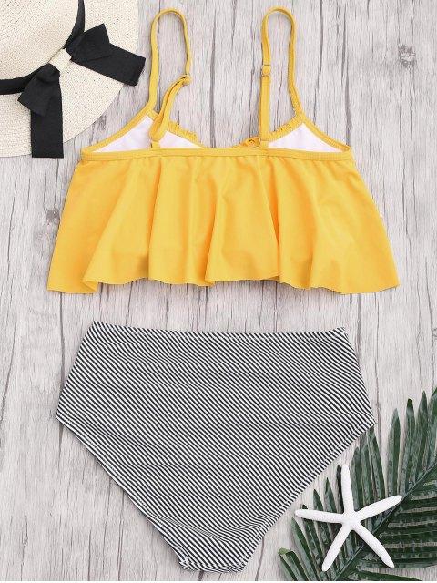sale Plus Size Striped High Waisted Bikini Set - YELLOW 2XL Mobile