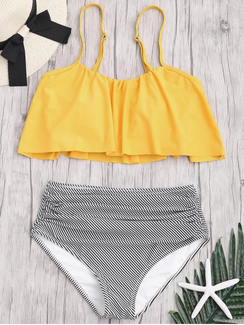 affordable Plus Size Striped High Waisted Bikini Set - YELLOW XL Mobile