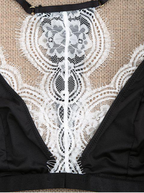 women's Y Back Eyelash Lace Bra - WHITE AND BLACK L Mobile
