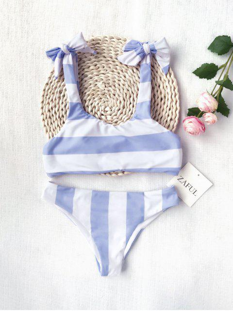 hot Ruched Tie Knot Striped Kid Bikini Set - BLUE AND WHITE 4T Mobile