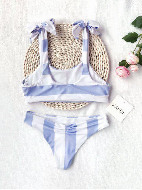 outfit Ruched Tie Knot Striped Kid Bikini Set - BLUE AND WHITE 5T Mobile