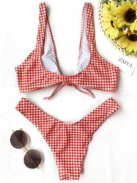 hot Front Tie Thong Plaid Bikini Set - RED AND WHITE M Mobile
