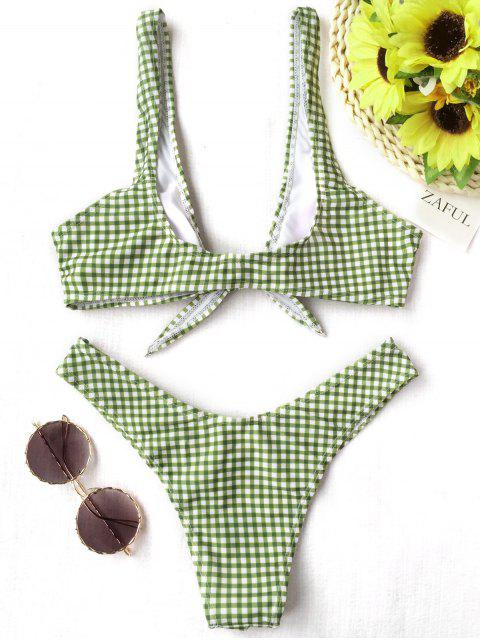 chic Front Tie Thong Plaid Bikini Set - WHITE AND GREEN M Mobile