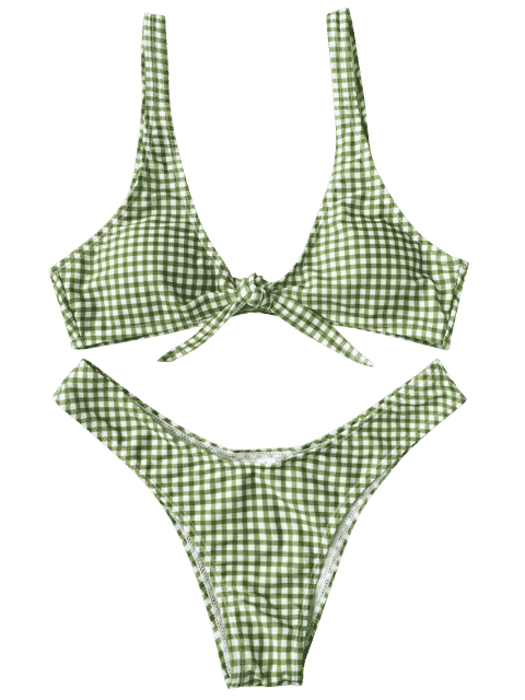 fancy Front Tie Thong Plaid Bikini Set - WHITE AND GREEN S Mobile