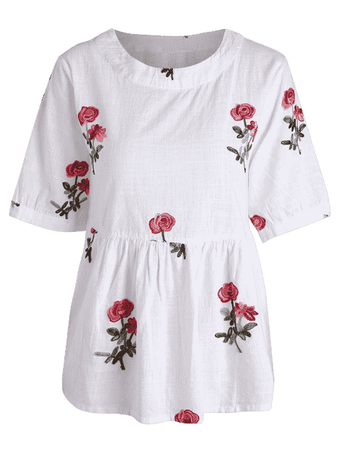 shop Floral Embroidered High Low Blouse - WHITE M Mobile