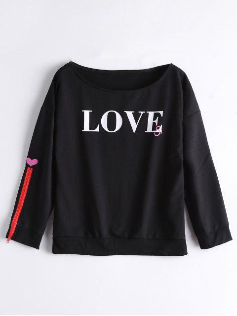 Camiseta floja de la letra de la manga del cierre relámpago - Negro S Mobile