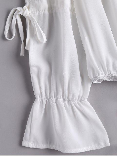 unique Ruffled Flare Sleeve Off Shoulder Blouse - WHITE XL Mobile