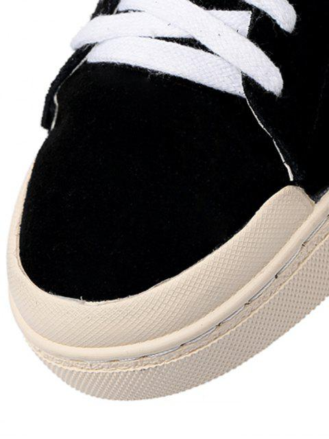 affordable Star Patched Faux Suede Flats - BLACK 38 Mobile