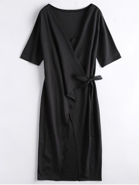 womens Front Slit Wrap Midi Dress - BLACK XL Mobile