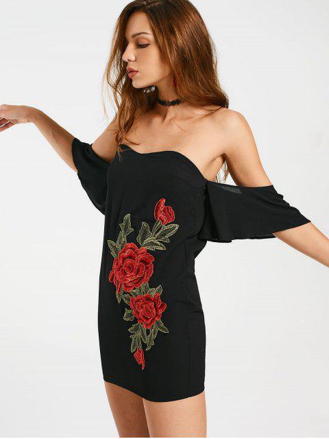 Appliqués brodés hors épaule Bodycon Dress - Noir M Mobile