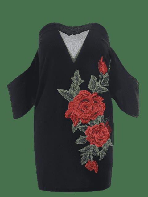 Appliqués brodés hors épaule Bodycon Dress - Noir L Mobile