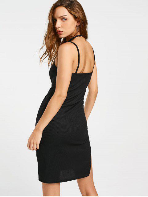 buy Slit Ribbed Bodycon Slip Dress - BLACK XL Mobile