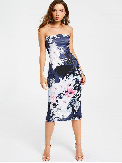 affordable Floral Midi Sheath Tube Dress - FLORAL XL Mobile