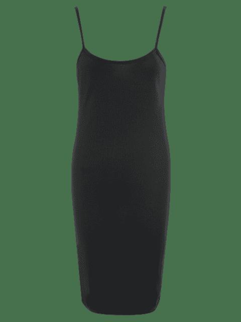 Slit Ribbed Bodycon Slip Dress - Noir L Mobile