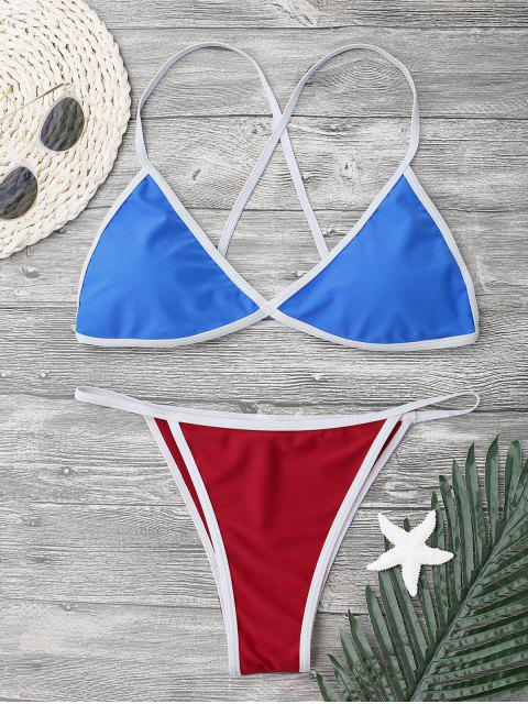 shop Criss-cross String Bikini Set - BLUE L Mobile
