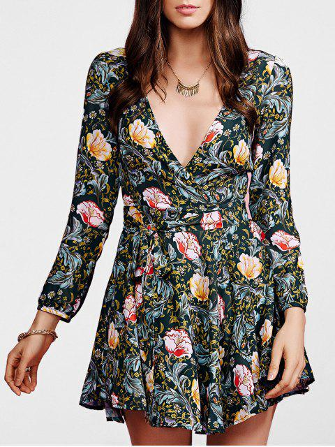 womens Crossover Collar Floral Dress - COLORMIX M Mobile