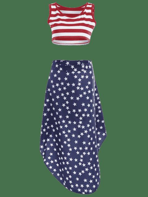Jupe à rayures croisées et jupe asymétrique étoile - Multicolore S Mobile