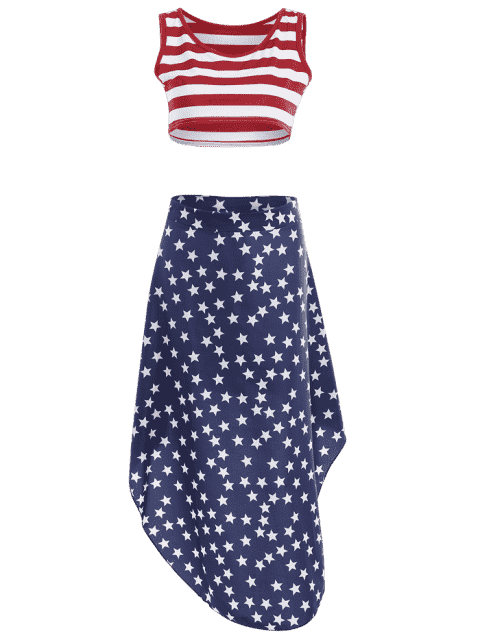 Jupe à rayures croisées et jupe asymétrique étoile - Multicolore L Mobile