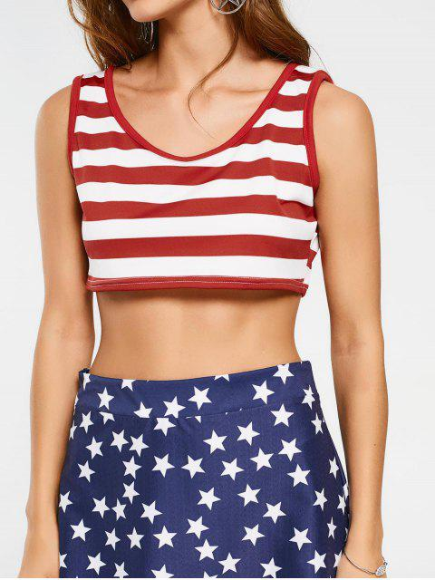 women's Cropped Stripes Tank Top and Star Asymmetrical Skirt - COLORMIX XL Mobile
