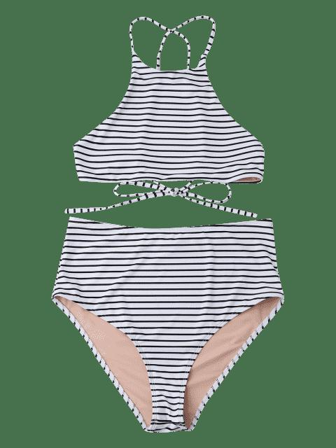 ladies Plus Size Stripe High Neck Bikini Set - WHITE 3XL Mobile