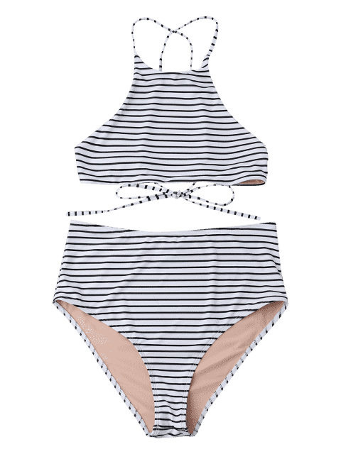 Plus Size Stripe Ensemble de bikini à col haut - Blanc 2XL Mobile