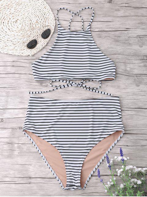 Plus Size Stripe Ensemble de bikini à col haut - Blanc XL Mobile