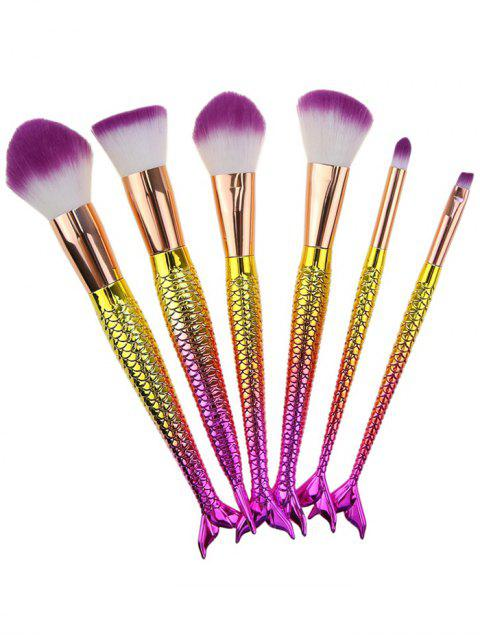 6Pcs Ombre Mermaid Tail Facial Makeup Brushes - Blanc + Violet  Mobile