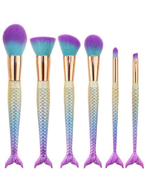 fancy 6Pcs Ombre Mermaid Tail Facial Makeup Brushes - BLUE VIOLET  Mobile