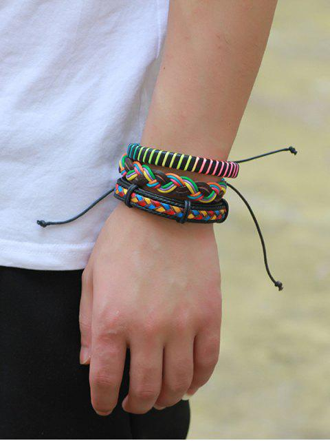 affordable Multicolor Woven Faux Leather Rope Bracelets Set - COLORFUL  Mobile