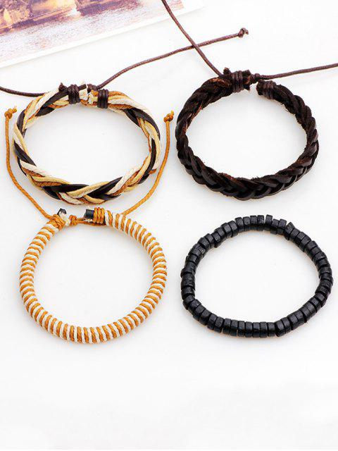 sale Boho Beaded Woven Faux Leather Rope Bracelets Set - BROWN  Mobile