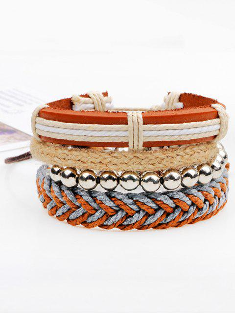 unique Beaded Woven Straw Rope Friendship Bracelets - BROWN  Mobile