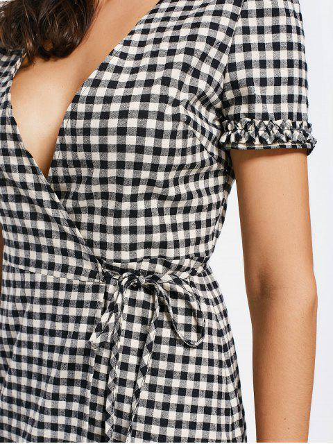 lady Checked Ruffles Wrap Casual Dress - CHECKED XL Mobile