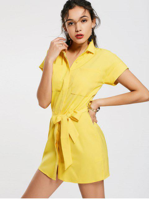 trendy Casual Belted Mini Shirt Dress - YELLOW S Mobile