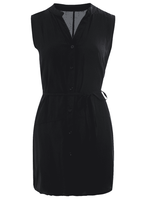 womens Belted Button Up Longline Shirt - BLACK S Mobile