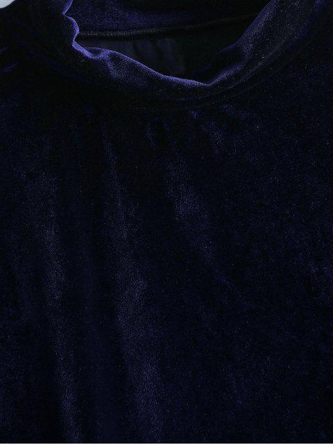 women Crushed Velvet Cold Shoulder Top - PURPLISH BLUE L Mobile