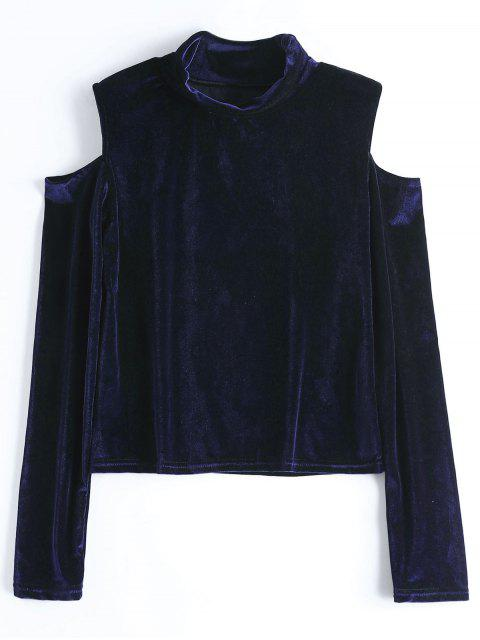 women Crushed Velvet Cold Shoulder Top - PURPLISH BLUE L Mobile