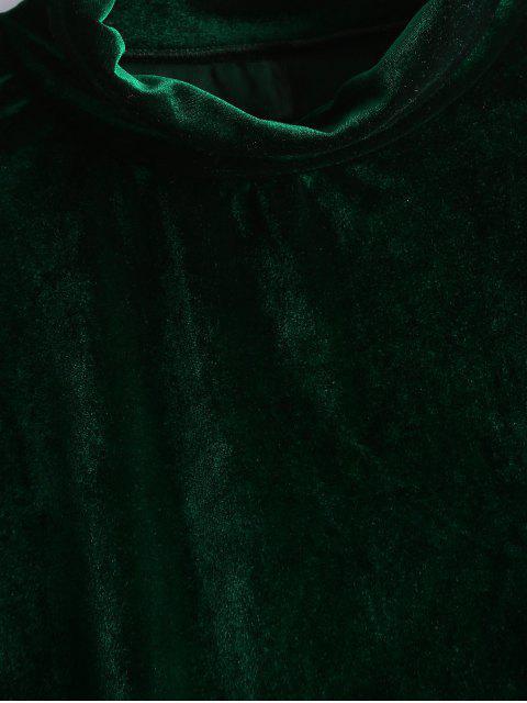best Crushed Velvet Cold Shoulder Top - BLACKISH GREEN XL Mobile