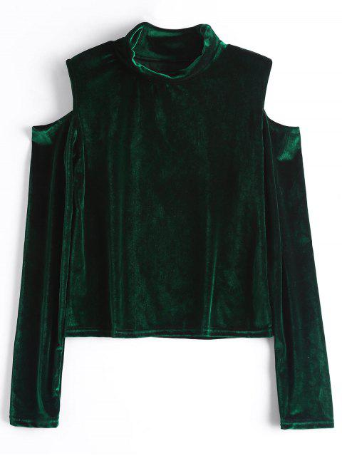 hot Crushed Velvet Cold Shoulder Top - BLACKISH GREEN L Mobile
