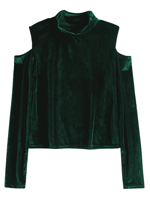 hot Crushed Velvet Cold Shoulder Top - BLACKISH GREEN L Mobile