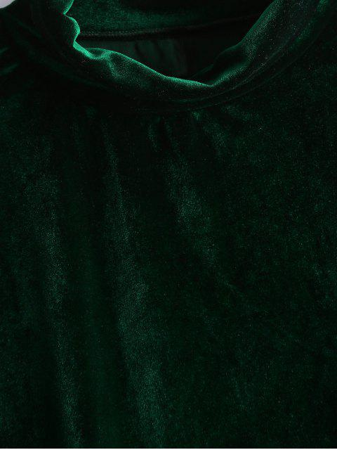 shop Crushed Velvet Cold Shoulder Top - BLACKISH GREEN M Mobile