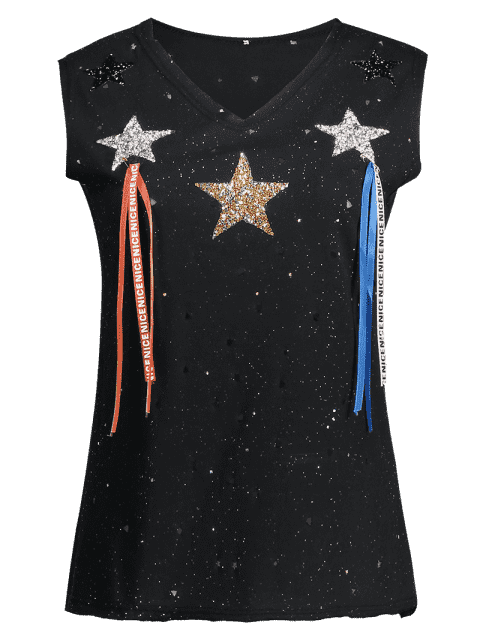 Shiny Star Rhinestoned Top - Noir Taille Unique(S'adap Mobile