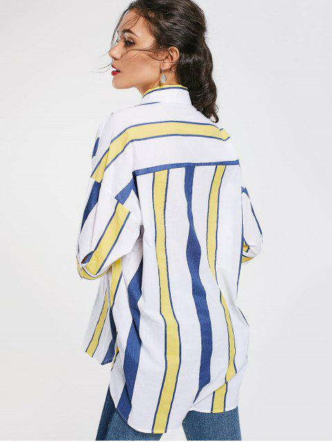 hot Stripes Oversized High Low Shirt - STRIPE ONE SIZE(FIT SIZE XS TO M) Mobile