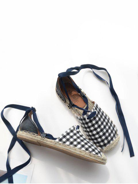 El patrón de tela escocesa que cose ata para arriba los zapatos planos - Comprobado 37 Mobile