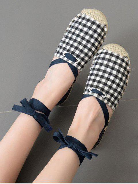 latest Plaid Pattern Stitching Tie Up Flat Shoes - CHECKED 40 Mobile